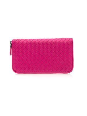 Intrecciato leather zip wallet
