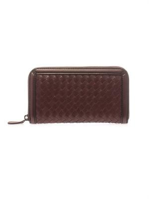 Intrecciato leather zip-up wallet