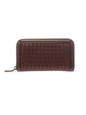 Intrecciato leather zip-up wallet