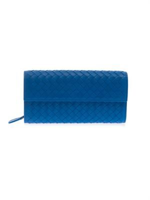 Continental intrecciato leather wallet