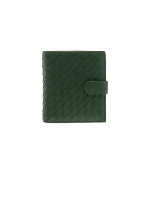 Intrecciato leather flap wallet