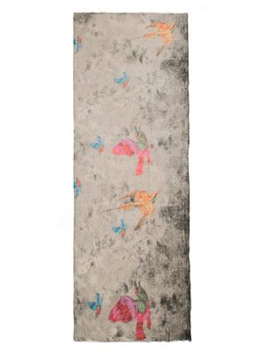 Mottled bird print scarf