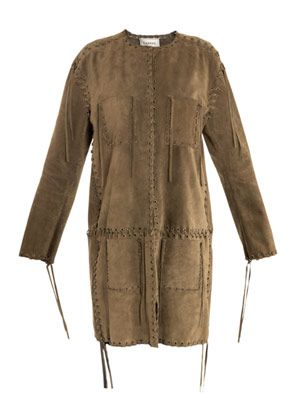 Suede fringed coat