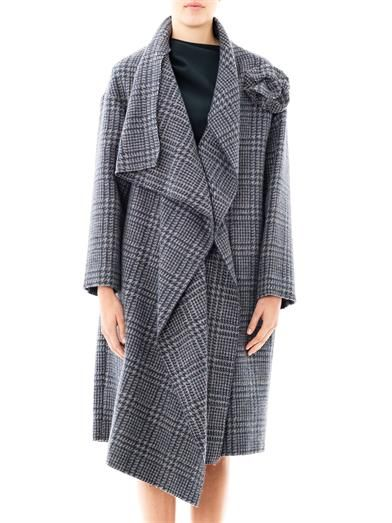 Lanvin Prince of Wales waterfall front coat