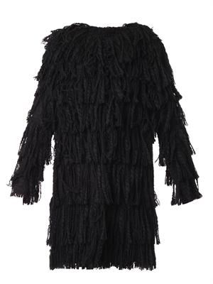 Fringed tweed coat