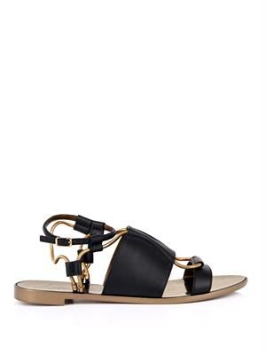 Leather and chain sandals