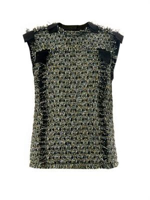 Lamé tweed sleeveless top