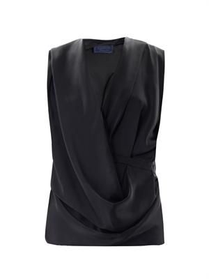 Double silk draped front sleeveless blouse
