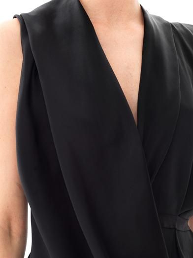 Lanvin Double silk draped front sleeveless blouse