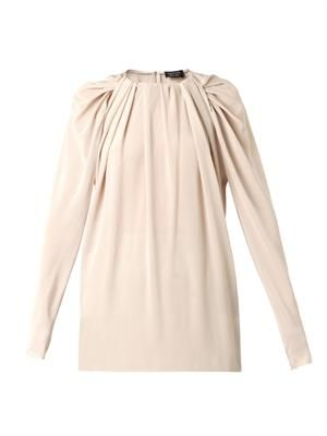Gathered neckline silk-georgette blouse
