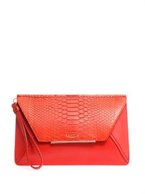 Python and leather envelope clutch
