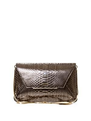 Snake-effect leather envelope clutch