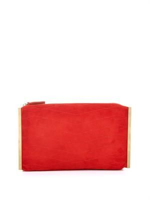 Private quilted suede clutch