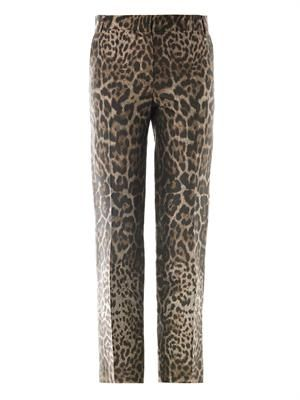 Jacquard leopard-print tailored trousers