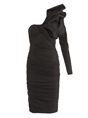 Bow-detail ruched jersey dress