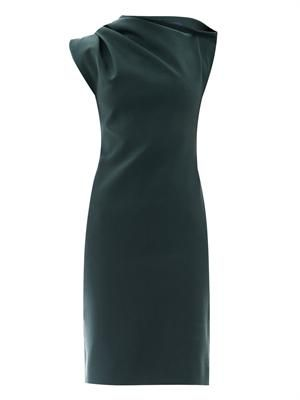 Draped shoulder stretch-wool dress