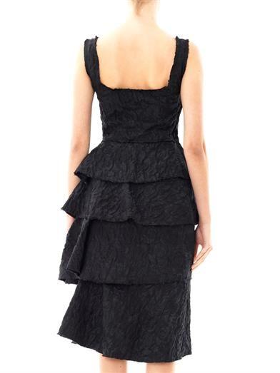 Lanvin Rose brocade ruffle dress