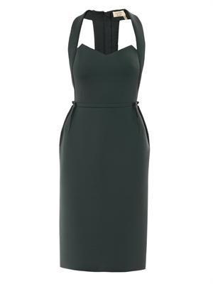 Cut-out techno-jersey dress