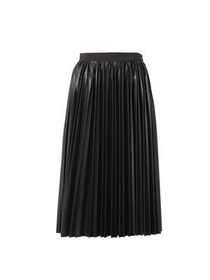Pleated faux-leather midi skirt