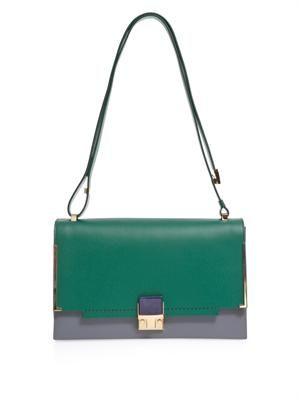 Partition colour-block leather shoulder bag