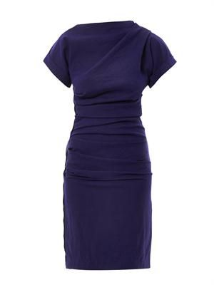 Ruched stretch-crepe dress
