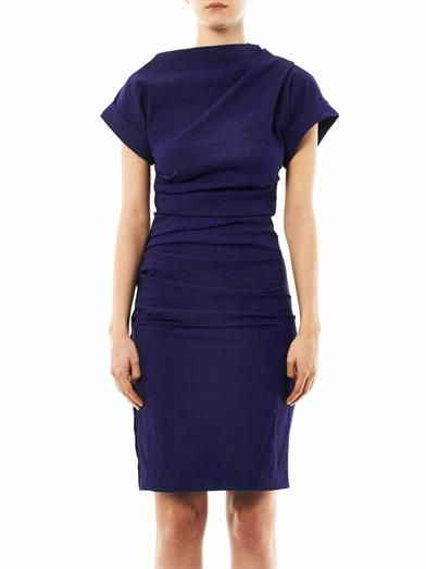 Lanvin Ruched stretch-crepe dress