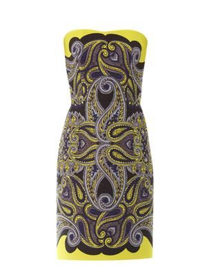Paisley-print techno-mesh dress