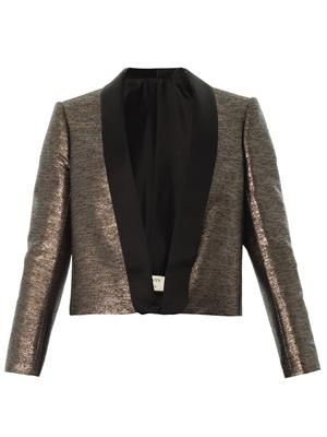 Lamé taffeta shawl-lapel blazer