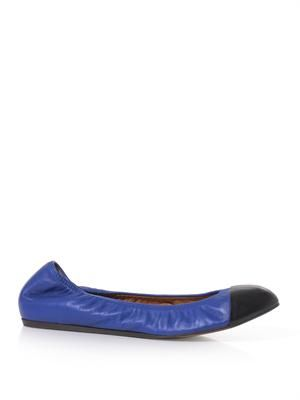 Contrast-toe leather ballet flats