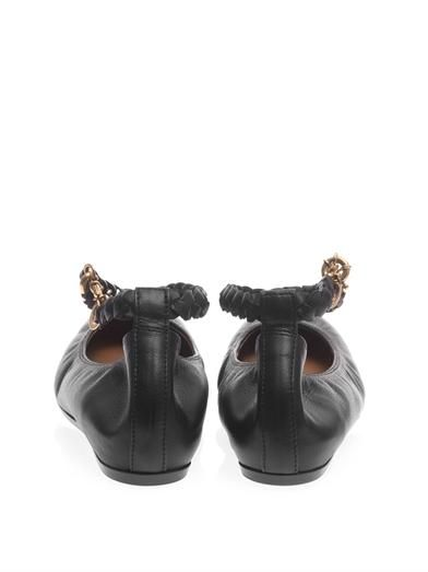 Lanvin Chain-strap leather ballerina flat