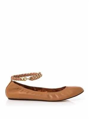 Chain-strap leather ballerina flat