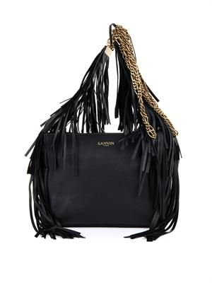 Tribale fringed leather shoulder bag