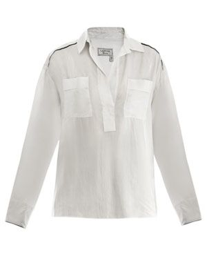 Piped washed-silk shirt