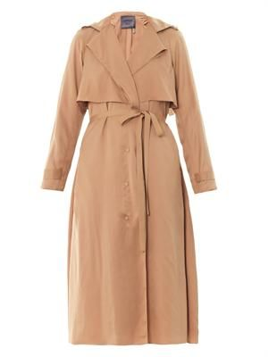 Satin-crepe trench coat