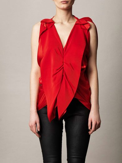 Lanvin Satin ruffle front top
