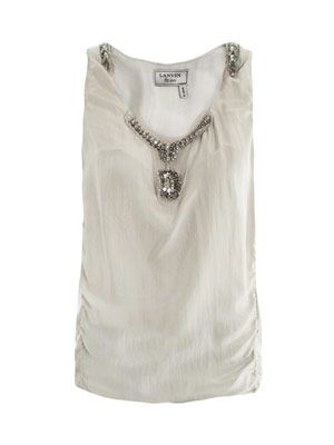 Embellished washed-silk top