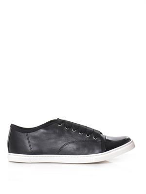 Leather patent-toe trainers