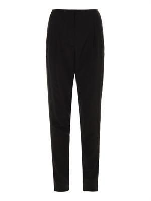 High-waisted pleated crepe trousers