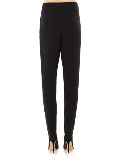 Lanvin High-waisted pleated crepe trousers