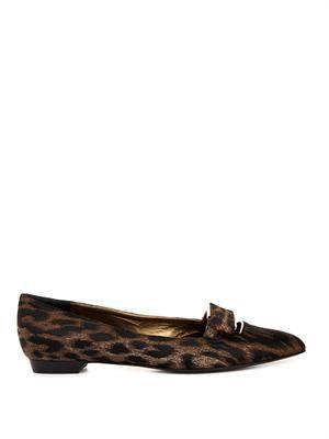 Leopard-jacquard bow flats