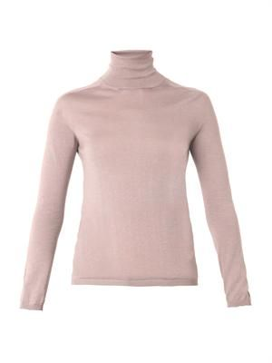 Roll-neck cashmere and silk-knit sweater