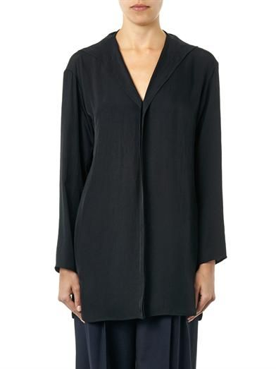 Lanvin V-neck satin-crepe blouse