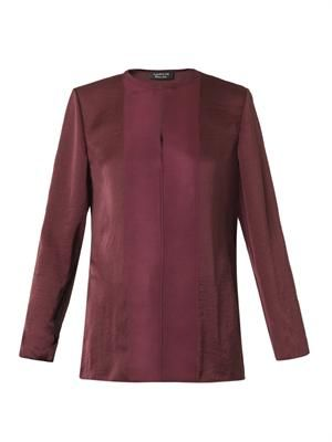 Round-neck washed-satin blouse