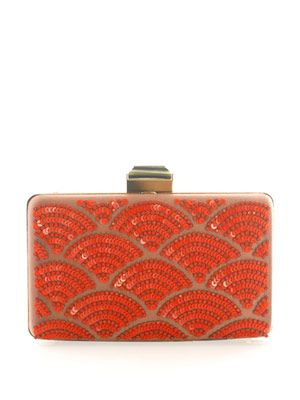 Fan sequin embellished box clutch