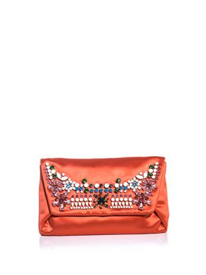 Embellished satin clutch