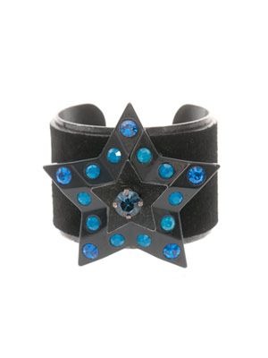 Suede and Swarovski-crystal star cuff