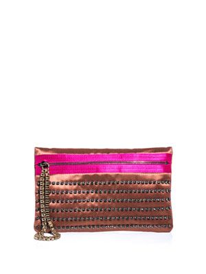 Exposed zip embellished clutch