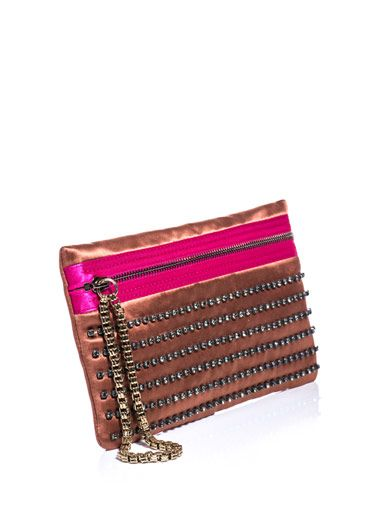 Lanvin Exposed zip embellished clutch