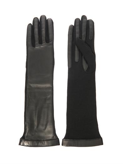 Lanvin Long-length leather and wool gloves
