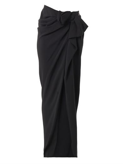 Lanvin Asymmetric-bow crepe skirt